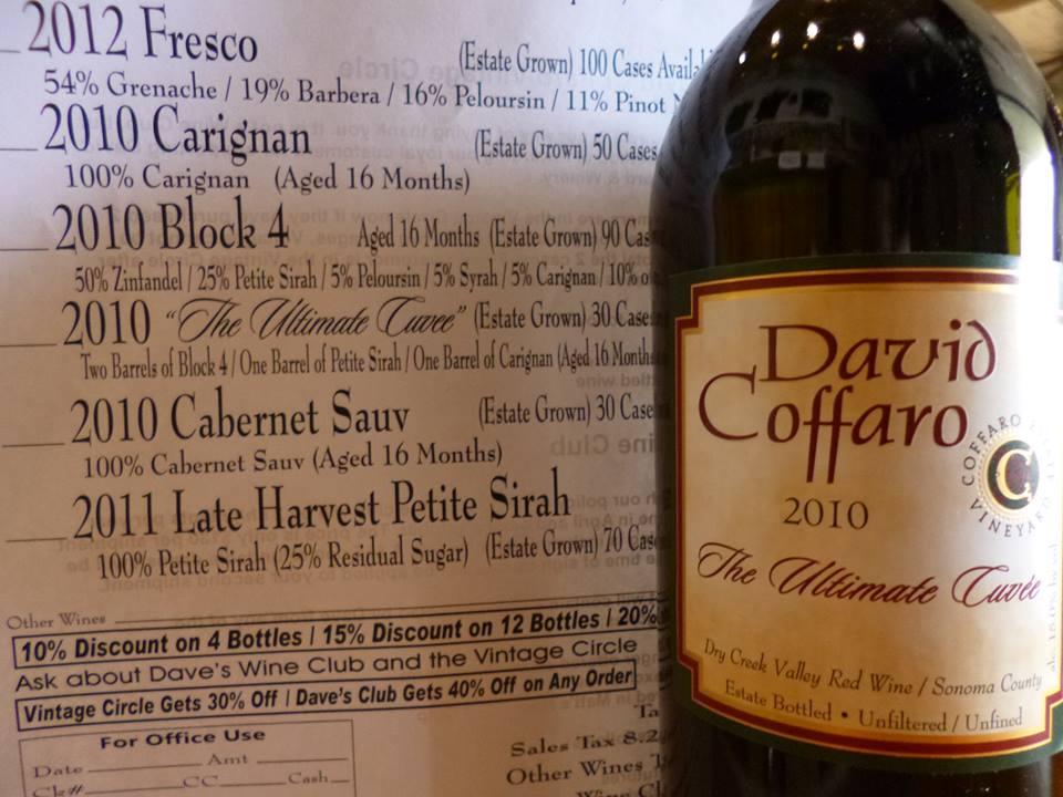David Coffaro wine bottle and price sheet order form wines dry creek valley